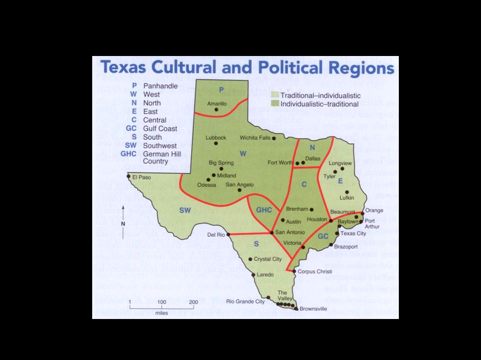 Texas Political Culture: 4) Influence of the Frontier – isolation; economic distress; physical hardship -- self-reliance: don't rely on government; Judge Roy Bean -- attachment to boots, guns, horses and beer (horse stealing v.