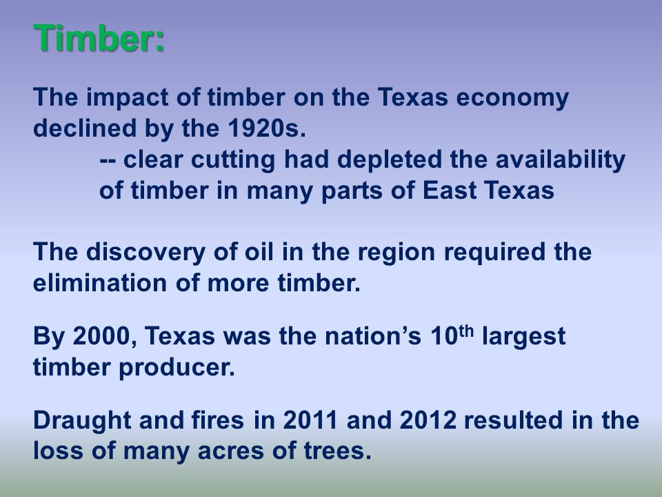 Timber: The Piney Woods of East Texas and the Big Thicket was largely uninhabited until the 1800s.