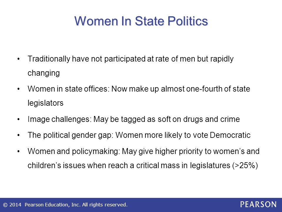 © 2014 Pearson Education, Inc. All rights reserved. Women In State Politics Traditionally have not participated at rate of men but rapidly changing Wo