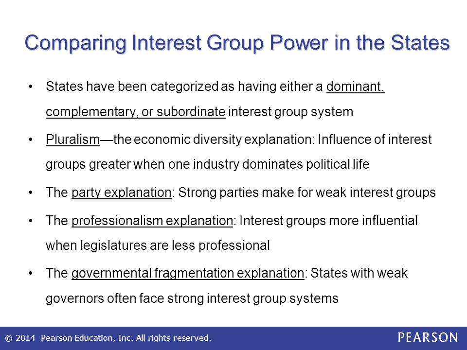 © 2014 Pearson Education, Inc. All rights reserved. Comparing Interest Group Power in the States States have been categorized as having either a domin