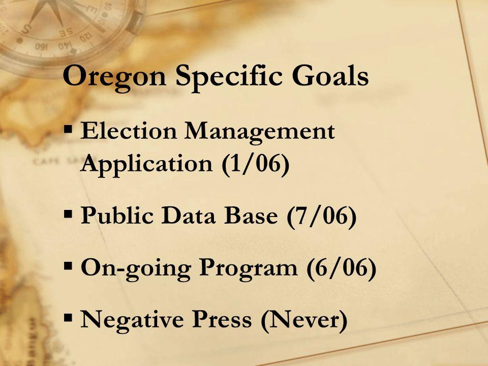 Oregon Specific Goals  Election Management Application (1/06)  Public Data Base (7/06)  On-going Program (6/06)  Negative Press (Never)