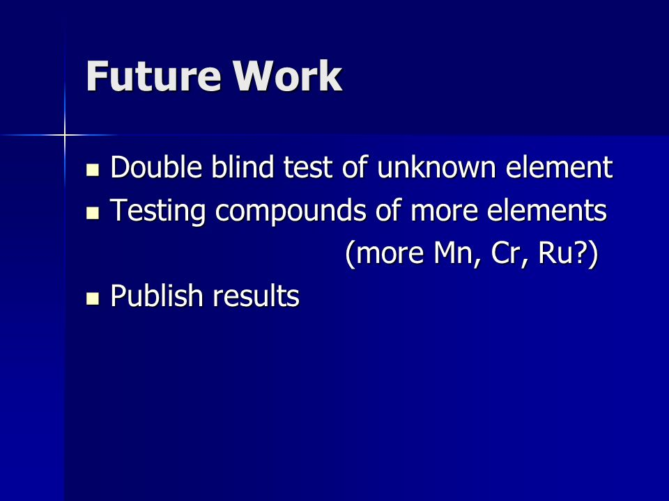 Future Work Double blind test of unknown element Double blind test of unknown element Testing compounds of more elements Testing compounds of more elements (more Mn, Cr, Ru ) (more Mn, Cr, Ru ) Publish results Publish results
