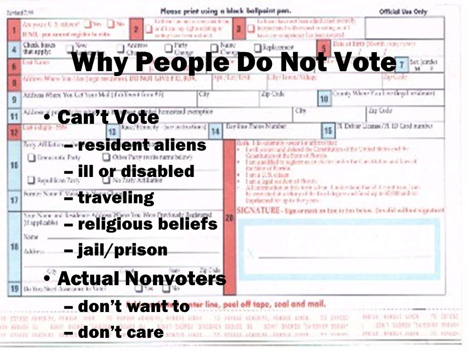 Why People Do Not Vote Can't Vote –resident aliens –ill or disabled –traveling –religious beliefs –jail/prison Actual Nonvoters –don't want to –don't