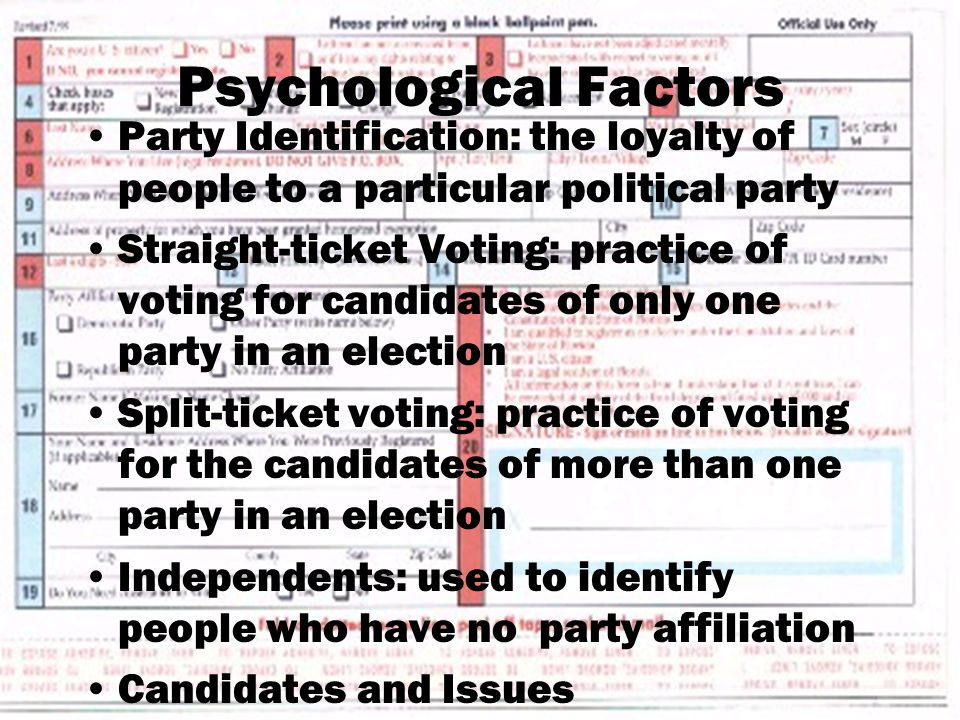 Psychological Factors Party Identification: the loyalty of people to a particular political party Straight-ticket Voting: practice of voting for candidates of only one party in an election Split-ticket voting: practice of voting for the candidates of more than one party in an election Independents: used to identify people who have no party affiliation Candidates and Issues