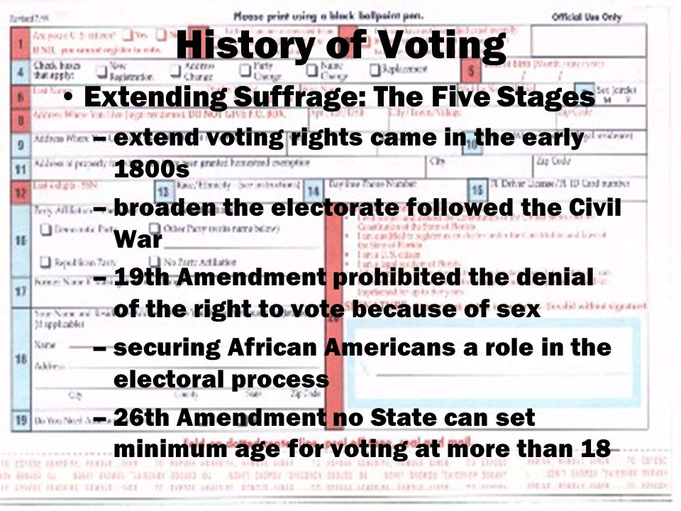 History of Voting Extending Suffrage: The Five Stages –extend voting rights came in the early 1800s –broaden the electorate followed the Civil War –19th Amendment prohibited the denial of the right to vote because of sex –securing African Americans a role in the electoral process –26th Amendment no State can set minimum age for voting at more than 18