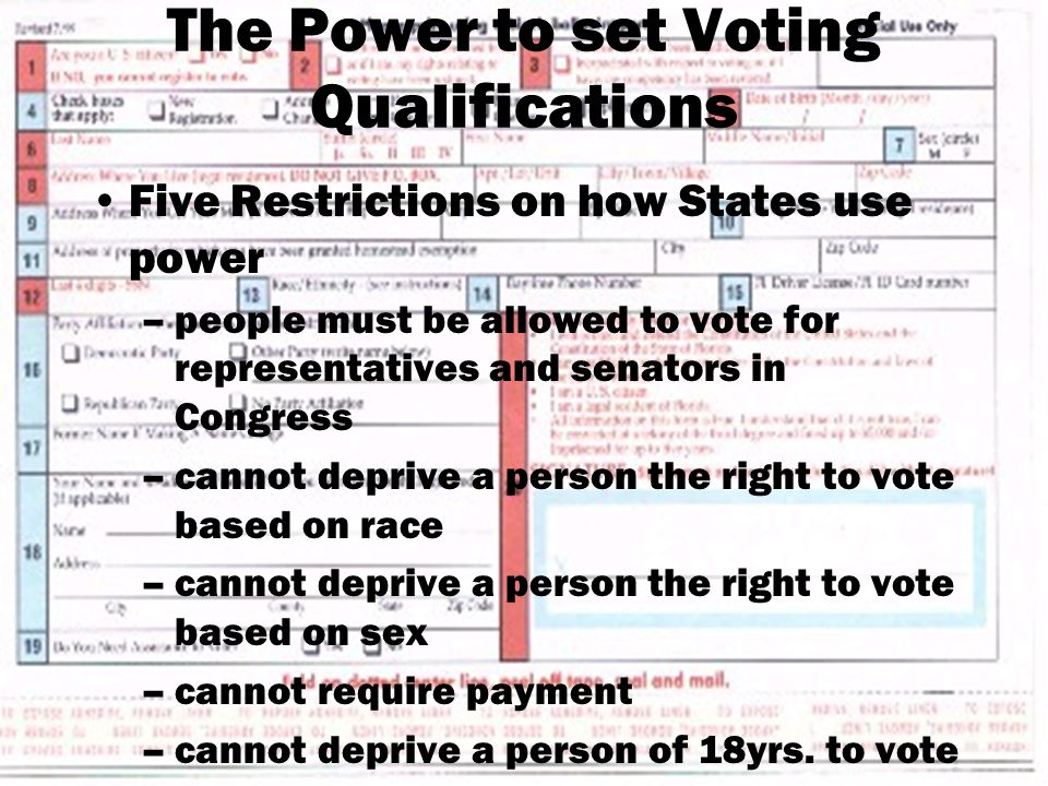 The Power to set Voting Qualifications Five Restrictions on how States use power –people must be allowed to vote for representatives and senators in Congress –cannot deprive a person the right to vote based on race –cannot deprive a person the right to vote based on sex –cannot require payment –cannot deprive a person of 18yrs.