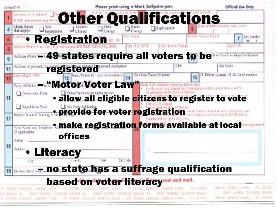Other Qualifications Registration –49 states require all voters to be registered – Motor Voter Law allow all eligible citizens to register to vote provide for voter registration make registration forms available at local offices Literacy –no state has a suffrage qualification based on voter literacy
