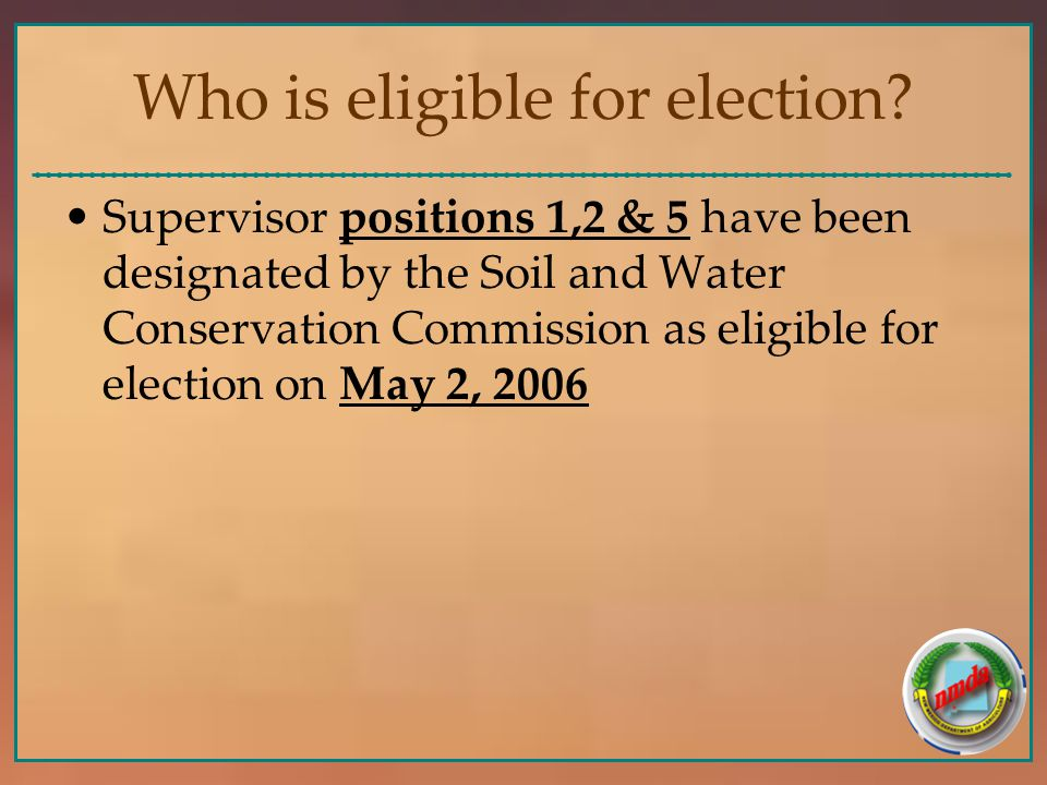 Who is eligible for election.