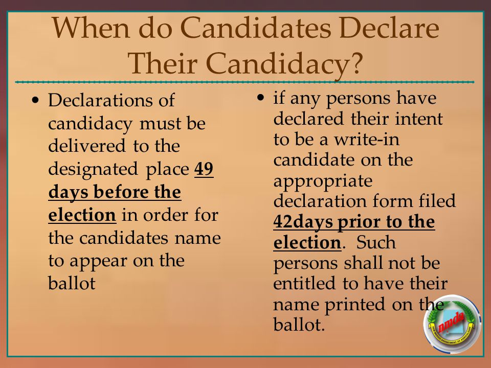 When do Candidates Declare Their Candidacy.