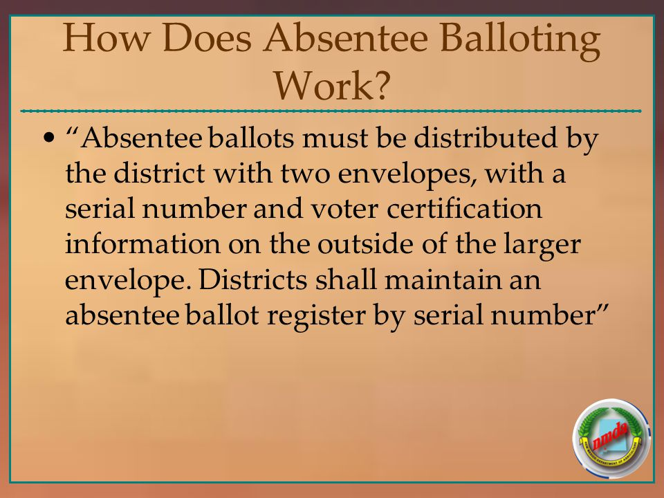 How Does Absentee Balloting Work.
