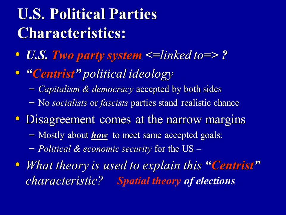 "U.S. Political Parties Characteristics: U.S. Two party system ? U.S. Two party system ? ""Centrist"" political ideology ""Centrist"" political ideology –"
