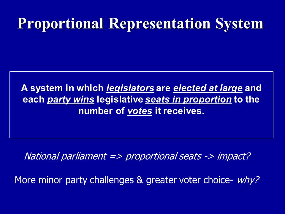 A system in which legislators are elected at large and each party wins legislative seats in proportion to the number of votes it receives. National pa