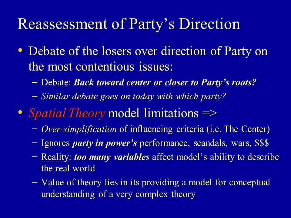 Reassessment of Party's Direction Debate of the losers over direction of Party on the most contentious issues: Debate of the losers over direction of