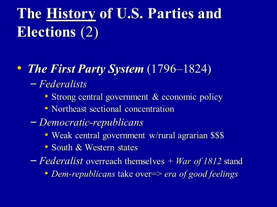 The History of U.S. Parties and Elections (2) The First Party System (1796–1824) The First Party System (1796–1824) – Federalists Strong central gover