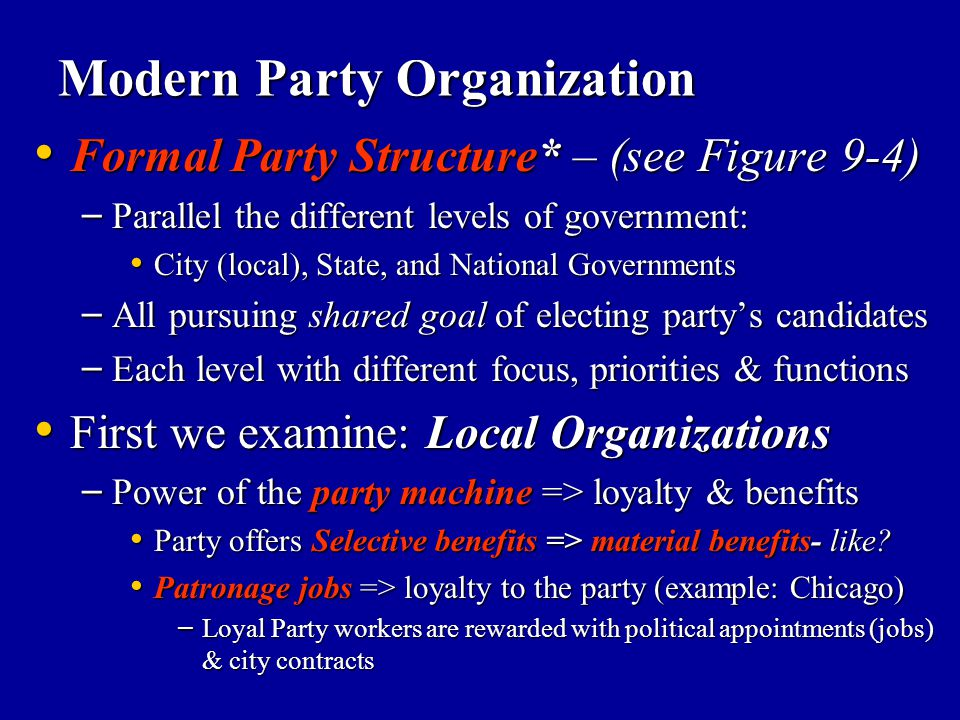 Modern Party Organization Formal Party Structure* – (see Figure 9-4) Formal Party Structure* – (see Figure 9-4) – Parallel the different levels of gov