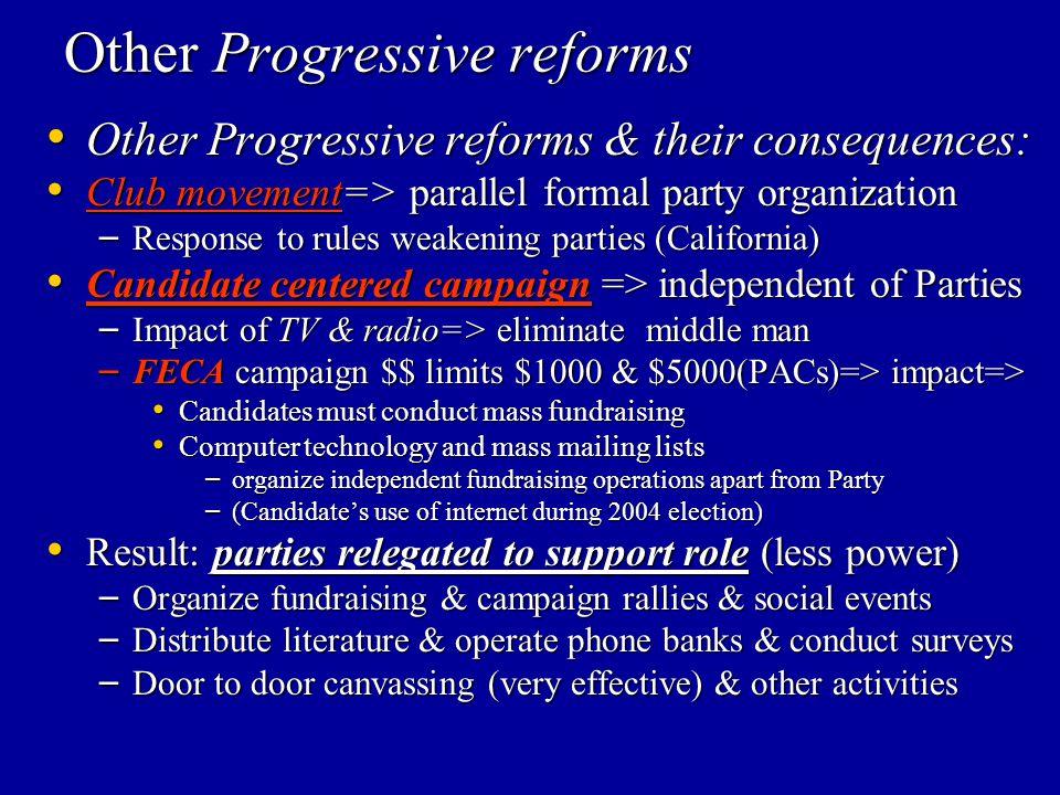 Other Progressive reforms Other Progressive reforms & their consequences: Other Progressive reforms & their consequences: Club movement=> parallel for