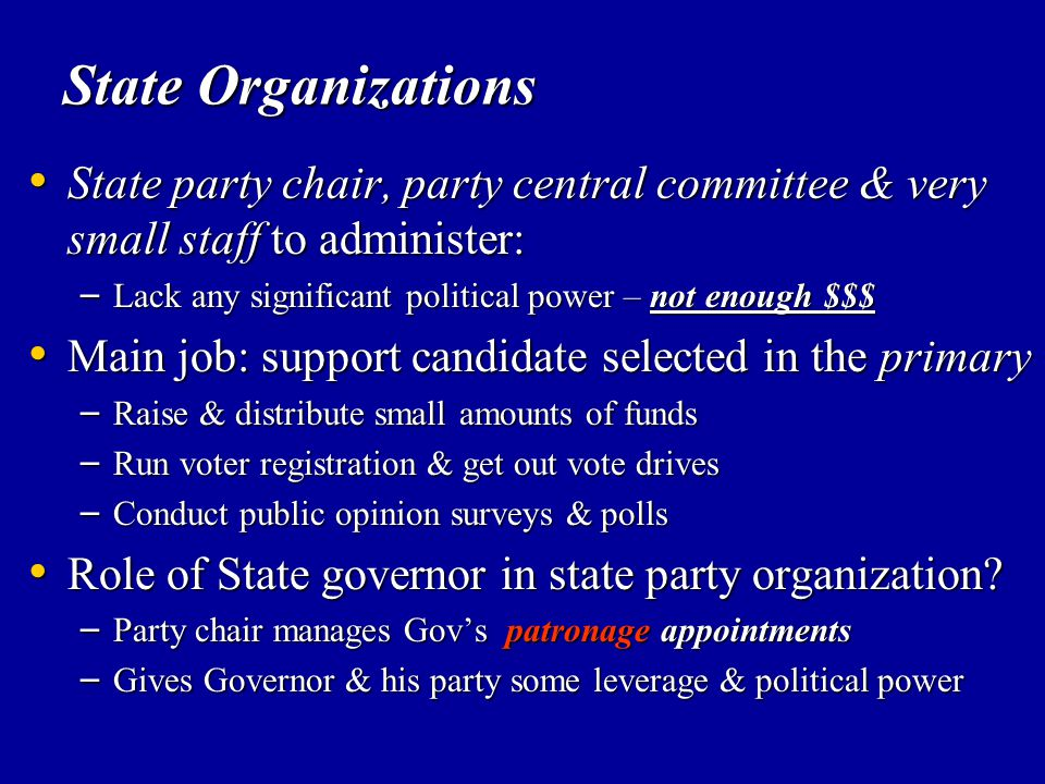 State Organizations State party chair, party central committee & very small staff to administer: State party chair, party central committee & very sma