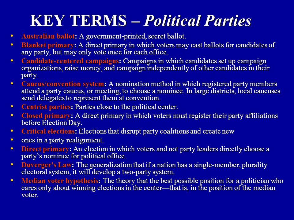 KEY TERMS – Political Parties Australian ballot: A government-printed, secret ballot. Australian ballot: A government-printed, secret ballot. Blanket