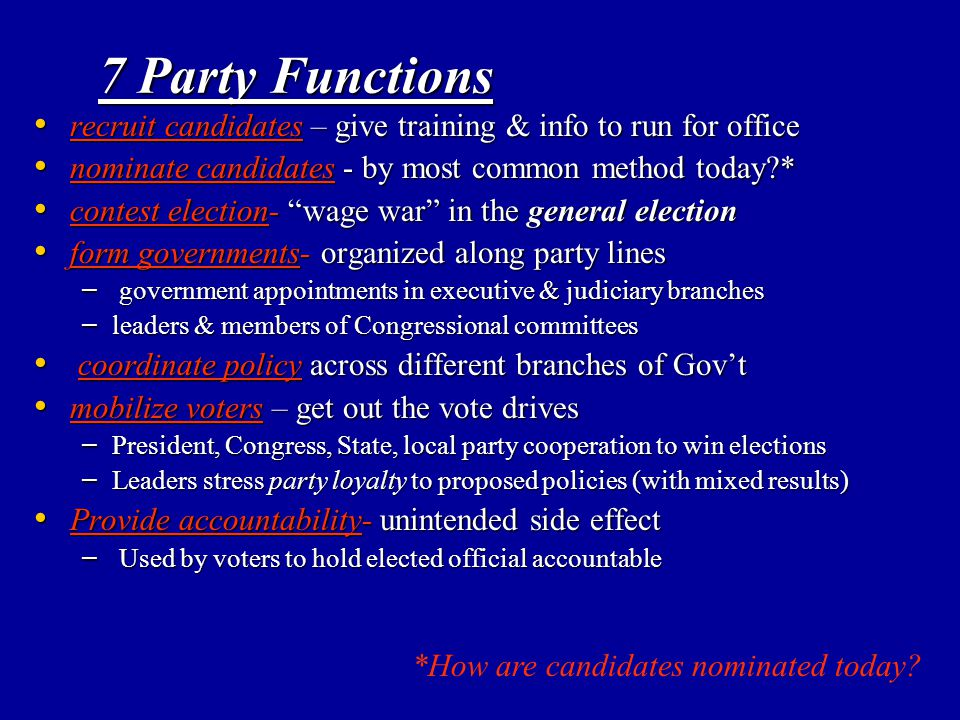 7 Party Functions recruit candidates – give training & info to run for office recruit candidates – give training & info to run for office nominate can
