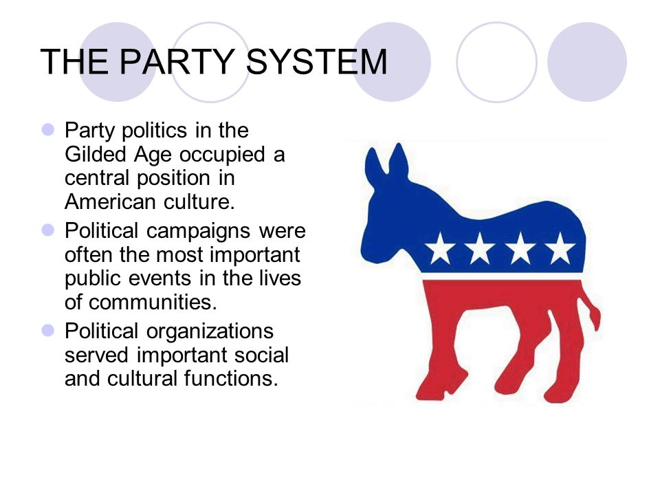 THE PARTY SYSTEM Party politics in the Gilded Age occupied a central position in American culture. Political campaigns were often the most important p