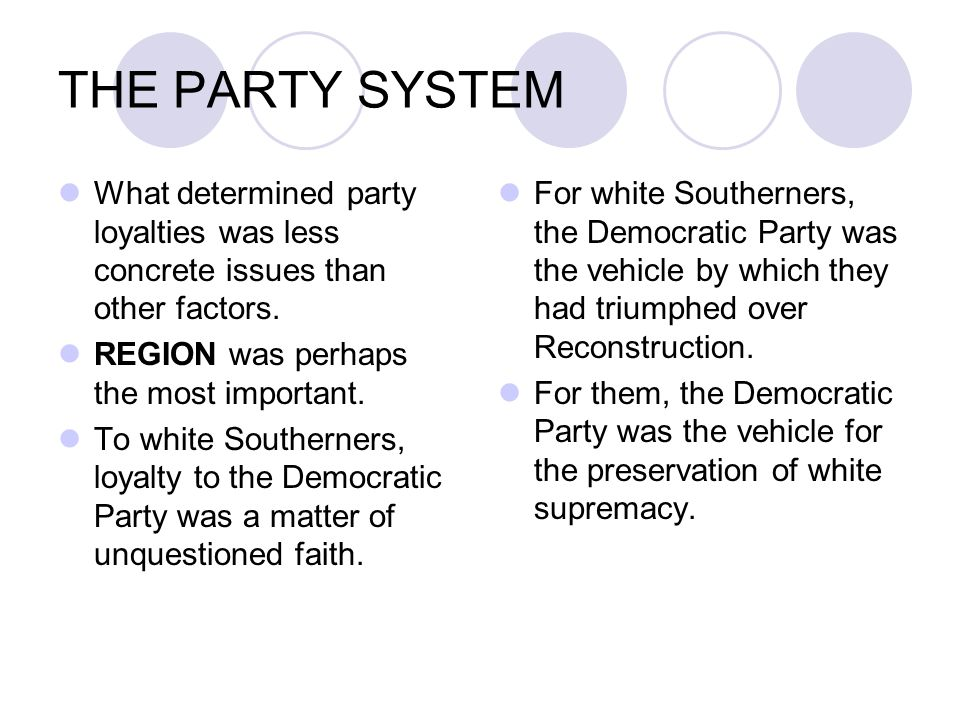 THE PARTY SYSTEM What determined party loyalties was less concrete issues than other factors. REGION was perhaps the most important. To white Southern