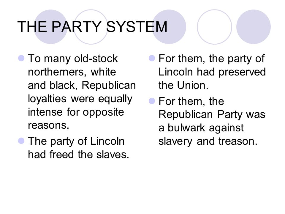 THE PARTY SYSTEM To many old-stock northerners, white and black, Republican loyalties were equally intense for opposite reasons. The party of Lincoln
