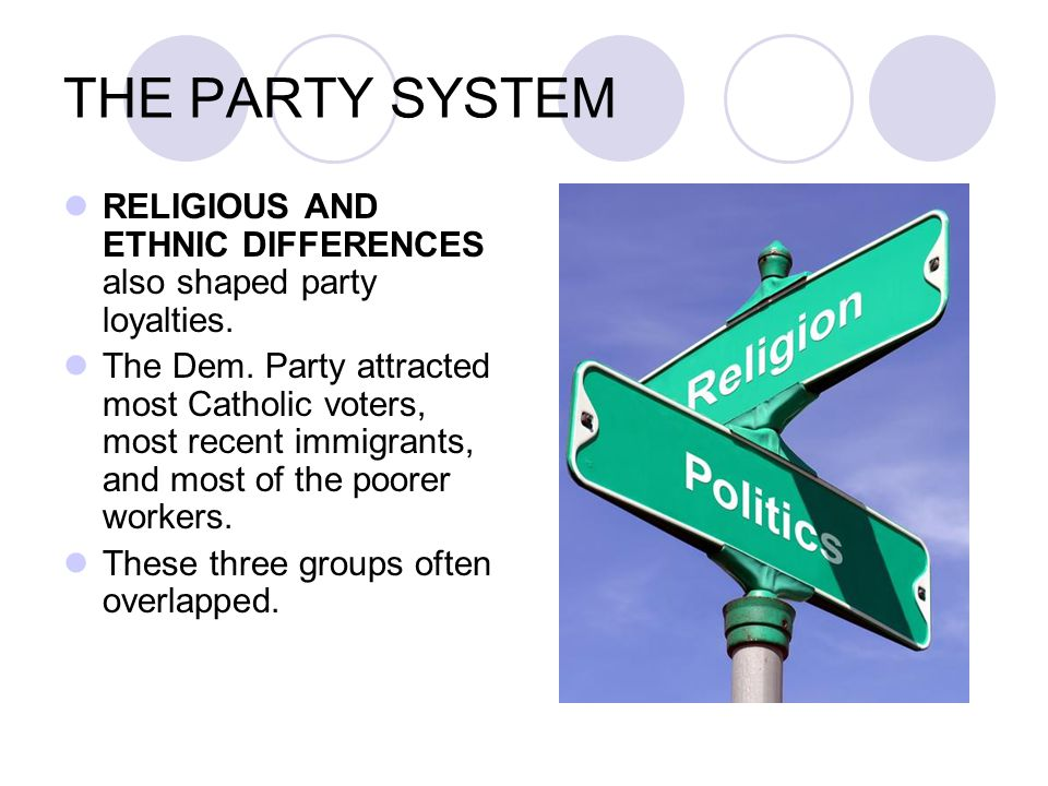 THE PARTY SYSTEM RELIGIOUS AND ETHNIC DIFFERENCES also shaped party loyalties. The Dem. Party attracted most Catholic voters, most recent immigrants,