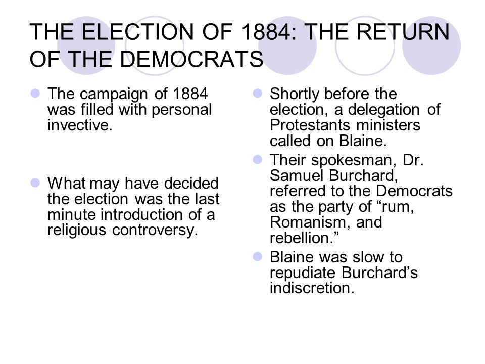 THE ELECTION OF 1884: THE RETURN OF THE DEMOCRATS The campaign of 1884 was filled with personal invective. What may have decided the election was the