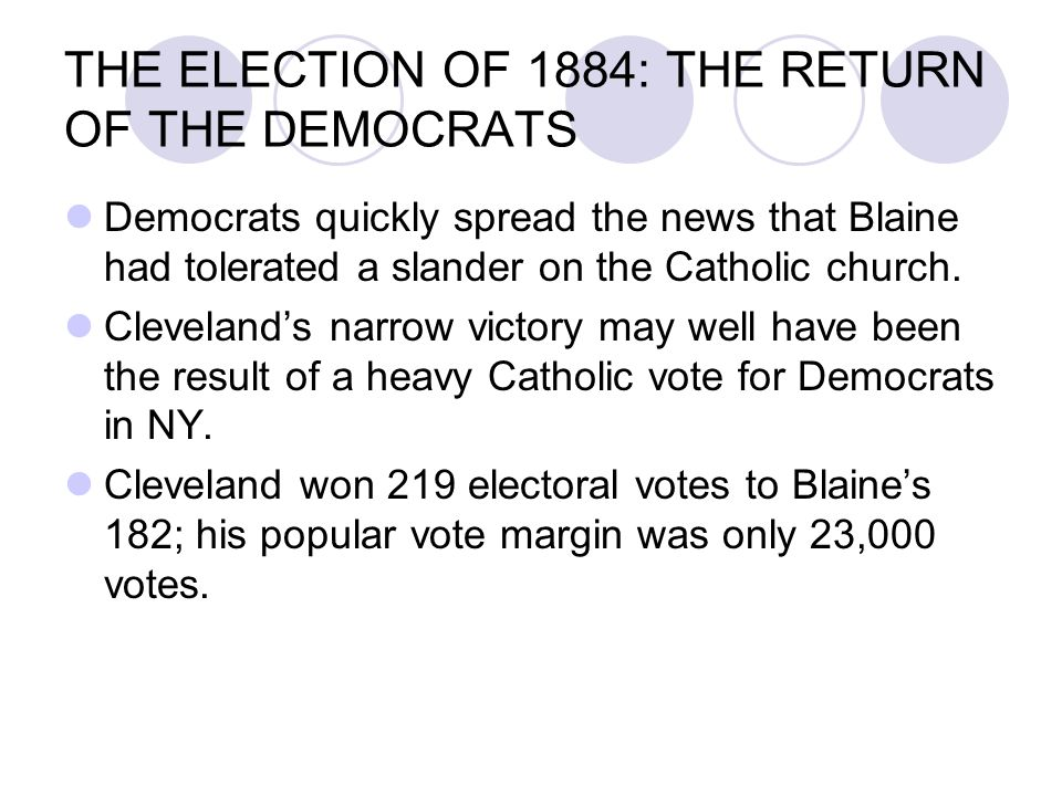 THE ELECTION OF 1884: THE RETURN OF THE DEMOCRATS Democrats quickly spread the news that Blaine had tolerated a slander on the Catholic church. Clevel