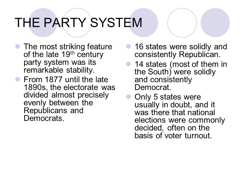 THE PARTY SYSTEM The Republican Party appealed to northern Protestants and citizens of old stock.
