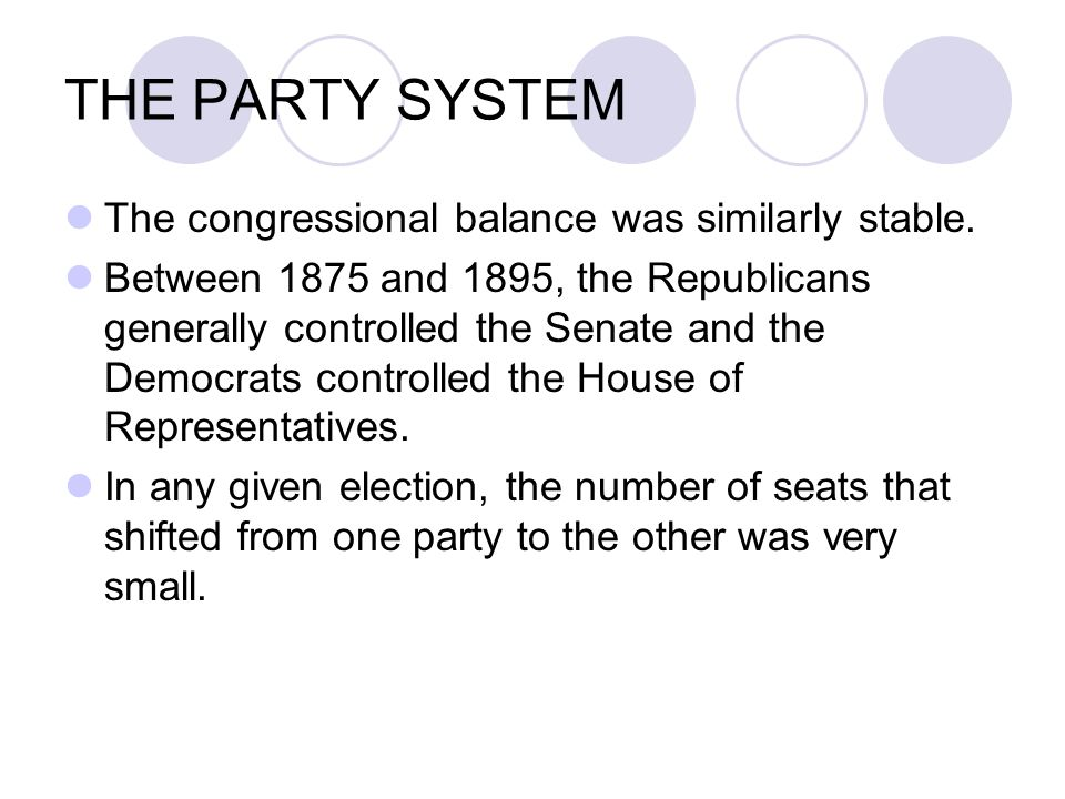THE PARTY SYSTEM For many Americans party identification was usually more a reflection of vague cultural inclinations than a calculation of economic interest.