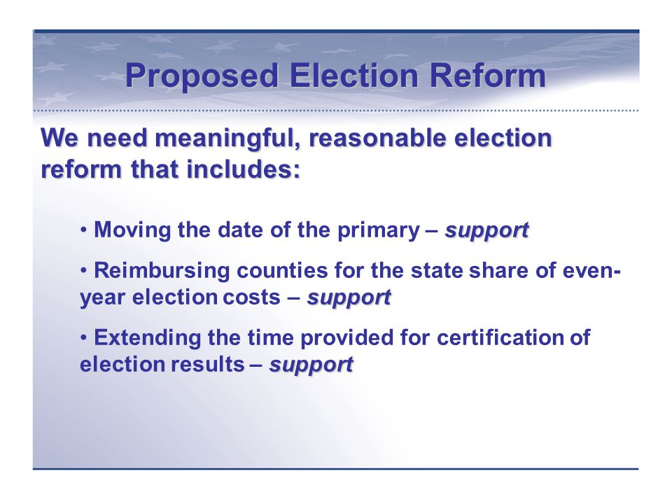 Proposed Election Reform continued support Conducting certain elections entirely by mail – support support Canvassing and ballot processing procedures – support oppose Requiring absentee ballots to be returned by Election Day – oppose