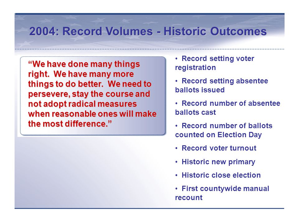 2004: Record Volumes - Historic Outcomes We have done many things right.
