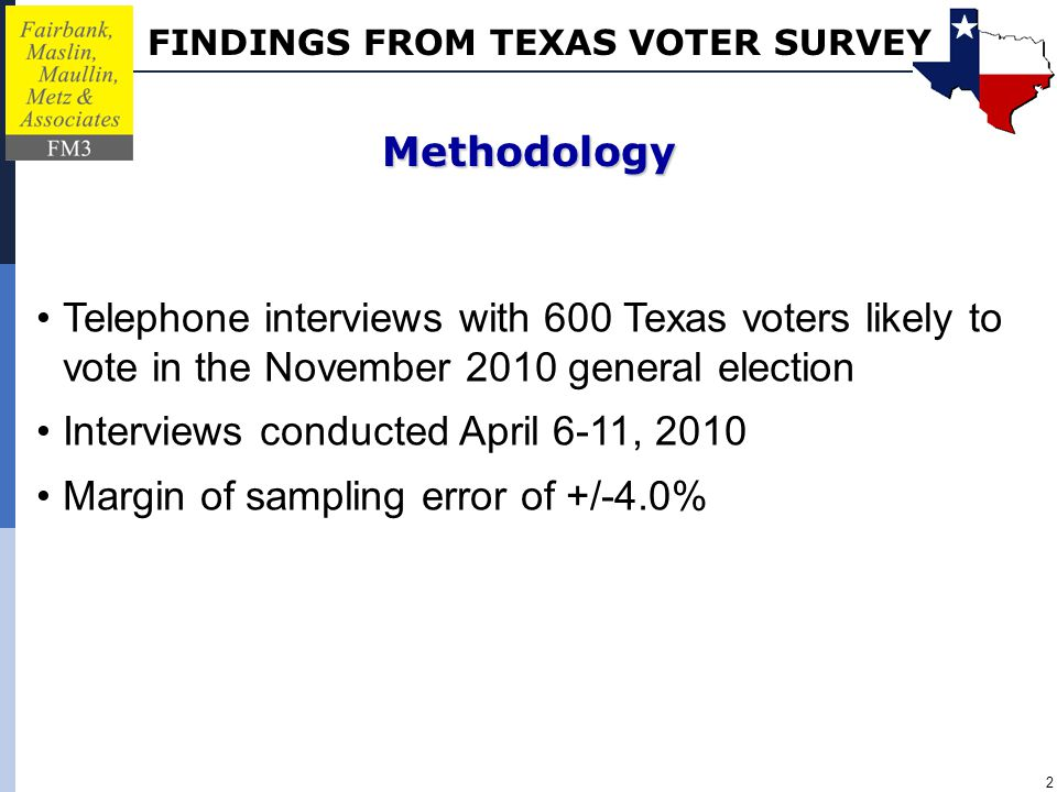 FINDINGS FROM TEXAS VOTER SURVEY 2 Telephone interviews with 600 Texas voters likely to vote in the November 2010 general election Interviews conducted April 6-11, 2010 Margin of sampling error of +/-4.0% Methodology