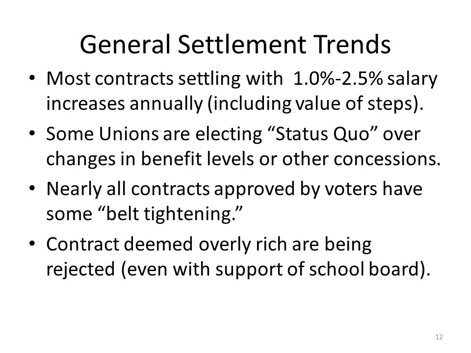 General Settlement Trends Most contracts settling with 1.0%-2.5% salary increases annually (including value of steps).