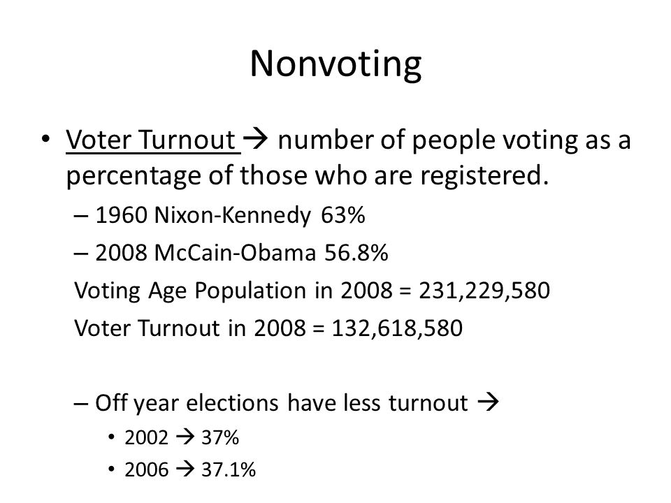 Nonvoting Voter Turnout  number of people voting as a percentage of those who are registered.