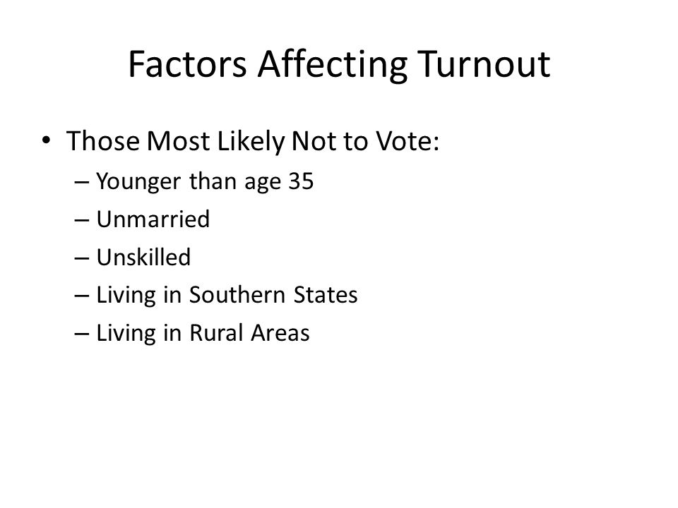 Factors Affecting Turnout Those Most Likely Not to Vote: – Younger than age 35 – Unmarried – Unskilled – Living in Southern States – Living in Rural Areas