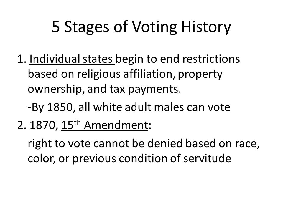 5 Stages of Voting History 1.