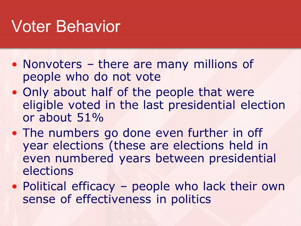 Voter Behavior Nonvoters – there are many millions of people who do not vote Only about half of the people that were eligible voted in the last presidential election or about 51% The numbers go done even further in off year elections (these are elections held in even numbered years between presidential elections Political efficacy – people who lack their own sense of effectiveness in politics