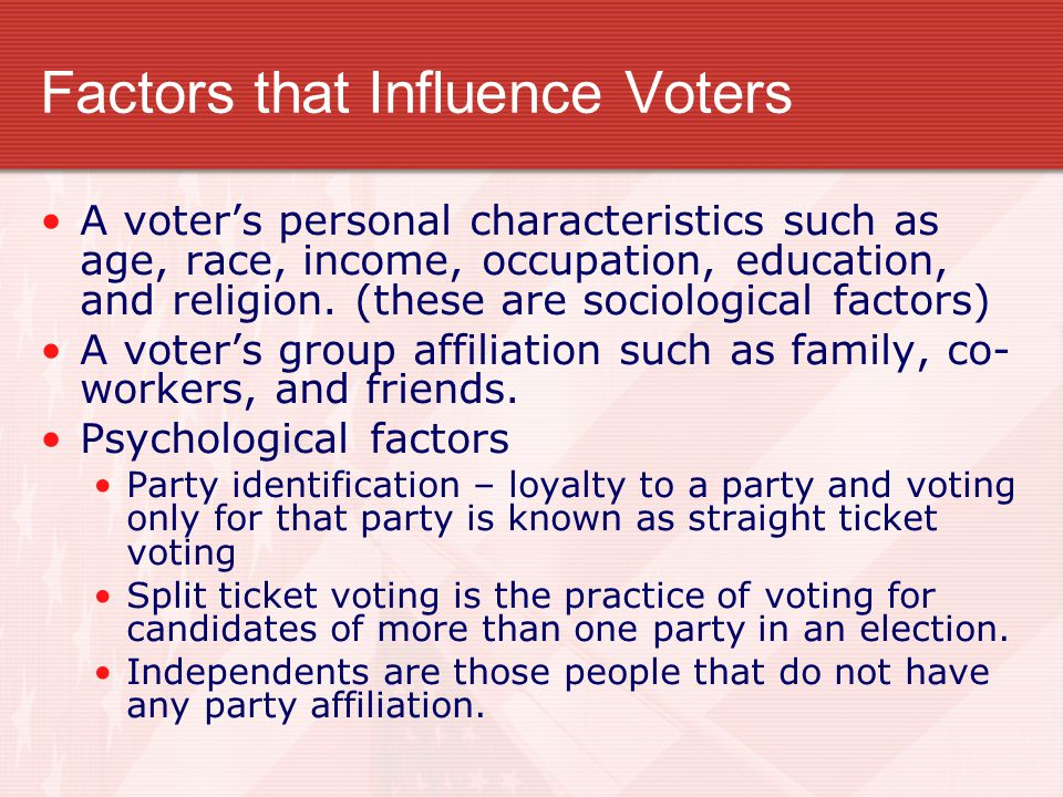 Factors that Influence Voters A voter's personal characteristics such as age, race, income, occupation, education, and religion. (these are sociologic
