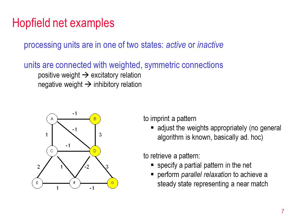 8 Parallel relaxation parallel relaxation algorithm: 1.pick a random unit 2.sum the weights on connections to active neighbors 3.if the sum is positive  make the unit active if the sum is negative  make the unit inactive 4.repeat until a stable state is achieved this Hopfield net has 4 stable states  what are they.