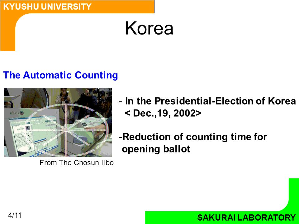 SAKURAI LABORATORY KYUSHU UNIVERSITY SAKURAI LABORATORY Korea From The Chosun Ilbo The Automatic Counting - In the Presidential-Election of Korea -Reduction of counting time for opening ballot 4/11