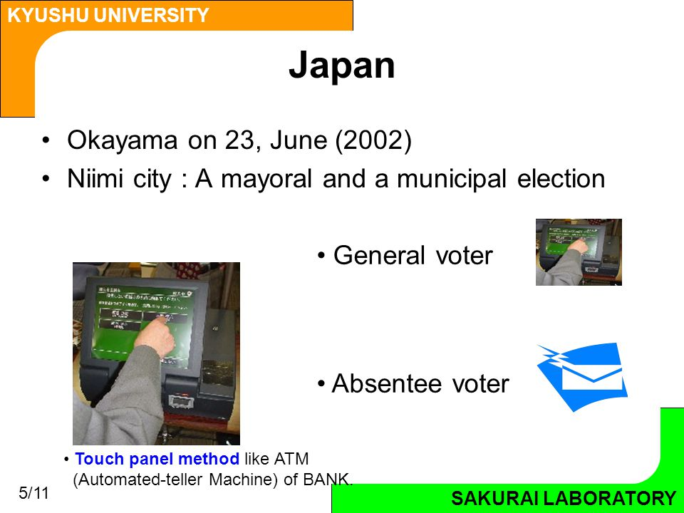 SAKURAI LABORATORY KYUSHU UNIVERSITY SAKURAI LABORATORY Japan Okayama on 23, June (2002) Niimi city : A mayoral and a municipal election Touch panel method like ATM (Automated-teller Machine) of BANK.