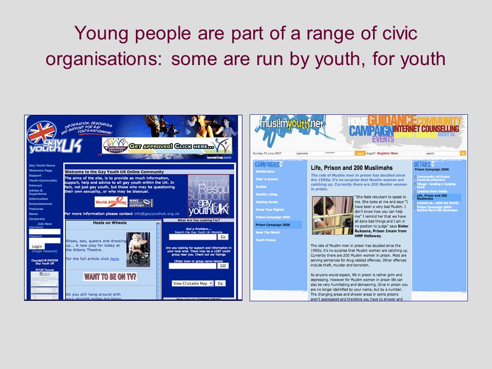 Young people are part of a range of civic organisations: some are run by youth, for youth