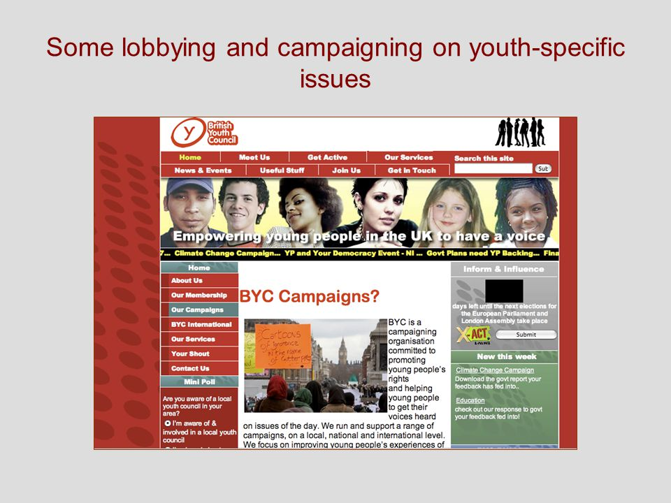 Some lobbying and campaigning on youth-specific issues