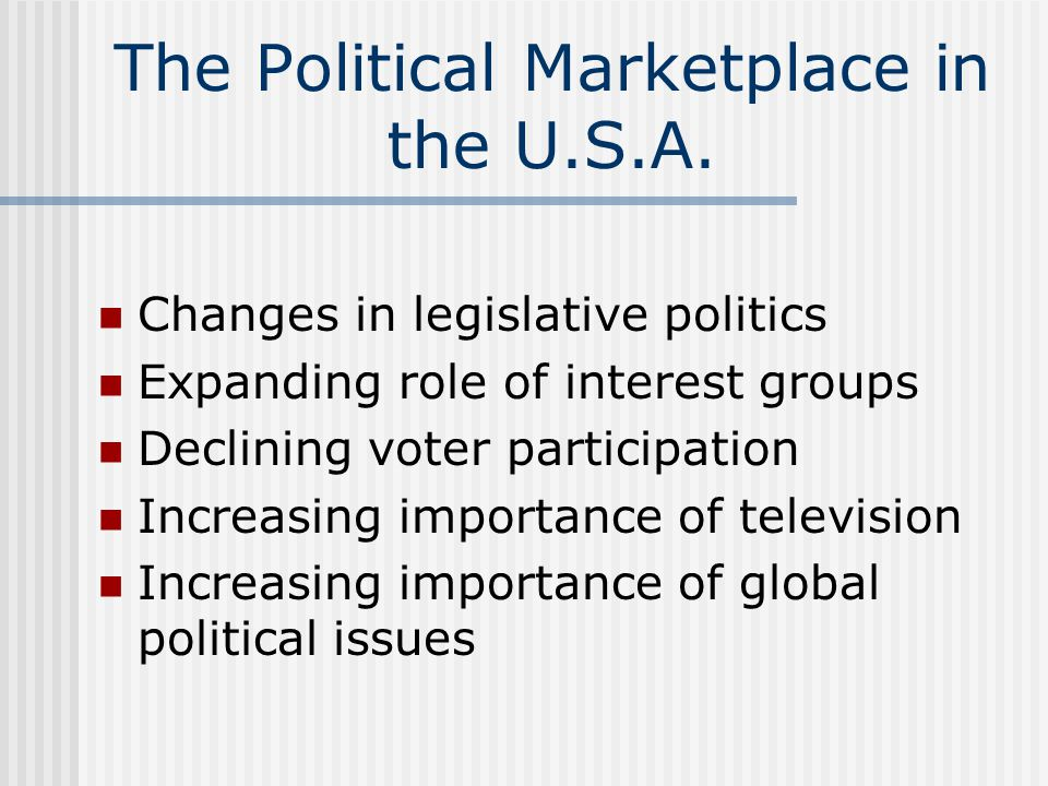 The Political Marketplace in the U.S.A. Changes in legislative politics Expanding role of interest groups Declining voter participation Increasing imp