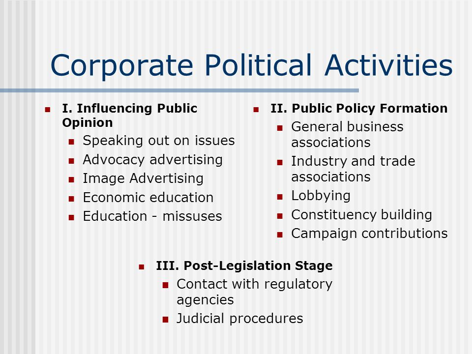 Corporate Political Activities I. Influencing Public Opinion Speaking out on issues Advocacy advertising Image Advertising Economic education Educatio