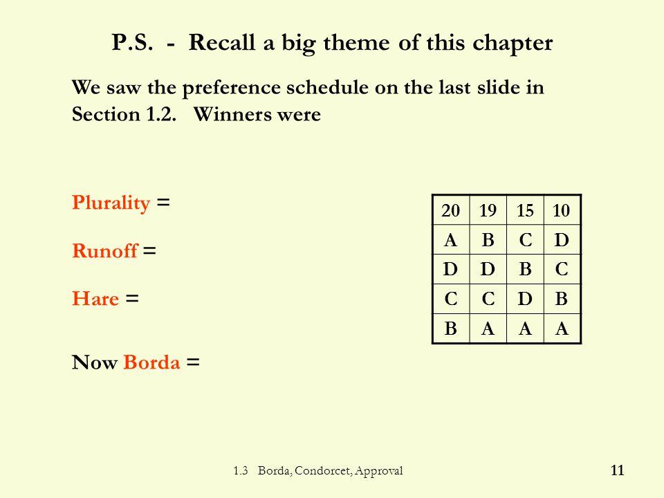 1.3 Borda, Condorcet, Approval 10 Who wins using Borda.