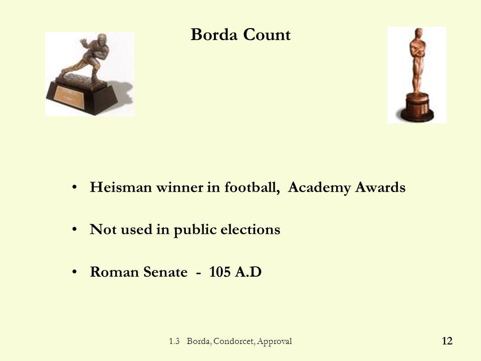 1.3 Borda, Condorcet, Approval 11 P.S.