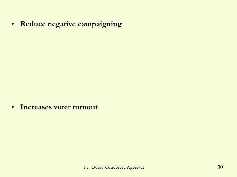 1.3 Borda, Condorcet, Approval 29 Approval - Advantages Avoids vote splitting Feasible